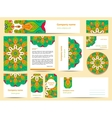 Stationery template design with green mandalas vector image