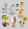 stylized animals with rainbow decoration vector image