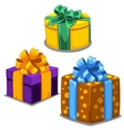 Three gift boxes with ribbons of different colors vector image vector image