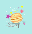 typography slogan print with cute macaroon vector image