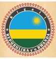 Vintage label cards of Rwanda flag vector image