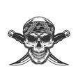 vintage monochrome gangster skull in bandana vector image vector image