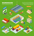 warehouse isometric infographics layout vector image