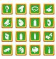 welding tools icons set green square vector image