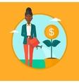 Woman watering money flower vector image vector image