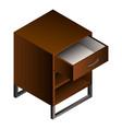 wood nightstand icon isometric style vector image vector image