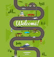 welcome to japan poster with famous attractions vector image