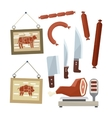 Meat and Butchers Flat Design Icons Set vector image