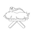baby jesus in straw cradle vector image