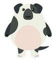 black and white dog with happy face vector image vector image