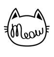 black cat contour head meow lettering text cute vector image vector image