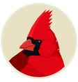 cardinal bird round frame vector image vector image