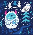 cartoon bigfoot or yeti loves birds fantasy vector image vector image