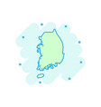 cartoon south korea map icon in comic style south vector image