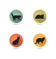 cats silhouette icon set kitten in different pose vector image vector image