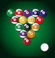 complete set of color billiards balls eps10 vector image