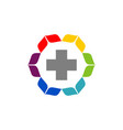 cross flower health care logo template vector image vector image