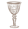 crystal goblet or glass cup isolated sketch vector image vector image