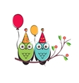 cute owls couple with balloons on tree vector image vector image