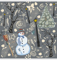 cute winter background with snowman character vector image