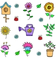 Doodle of spring with flower vector image