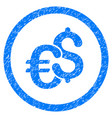 euro and dollar currency rounded icon rubber stamp vector image vector image
