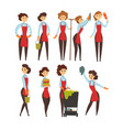 female professional cleaner set cleaning company vector image
