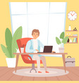 freelancer man in home office working in house vector image
