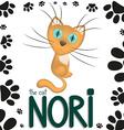 Funny cartoon cat Nori vector image