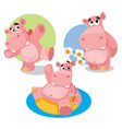 funny hippos on a white background vector image vector image
