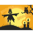 Halloween scarecrow and candles vector image