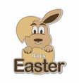 hatching easter bunny eggs with happy easter text vector image vector image