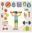 Healthy lifestyle flat icon set vector image