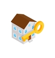 House and key icon isometric 3d style vector image vector image