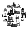 industrial building factory simple icons vector image