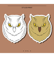 Isolated set of sketch owls Color and monochrome vector image vector image