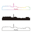 Kyoto skyline linear style with rainbow vector image vector image