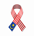 malaysian flag stripe ribbon on white background vector image vector image