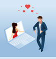 man using online dating application on notebook vector image vector image