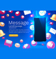 message with many icons chat for communication vector image vector image