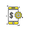 mobile gear dollar icon design vector image
