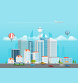 modern city life modern district with different vector image vector image