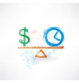 money time balance grunge icon vector image