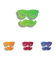 Mustache and Glasses sign Colorfull applique vector image