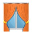 orange window curtain icon cartoon style vector image