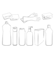 Outline of Cleaning set vector image vector image