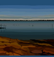 painted landscape of the coast of the river in the vector image
