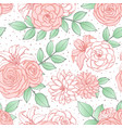 pattern with pink lily peony and rose flowers vector image vector image