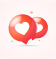 realistic 3d detailed red bubble with heart shape vector image
