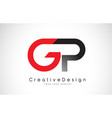 red and black gp g p letter logo design creative vector image vector image